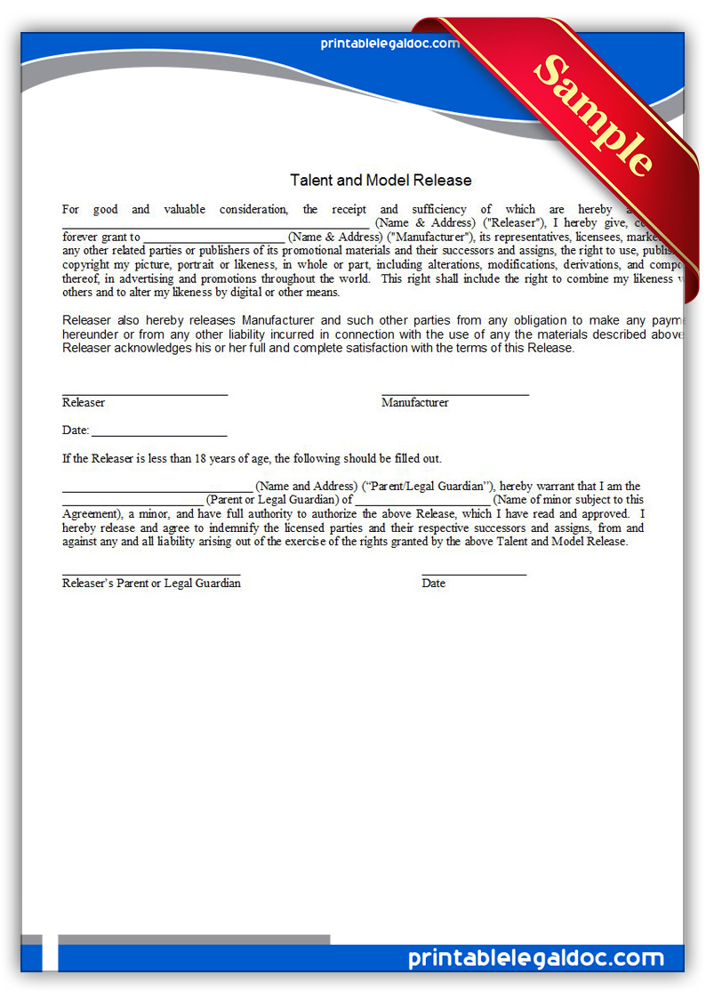 Free Printable Talent Model Release Form (GENERIC) Printable Talent Model Release  Form Talent Model Release Release Of Liability Form Free  Free Printable Liability Release Form