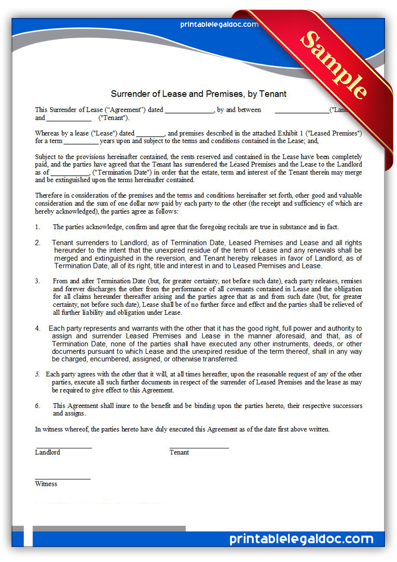 Printable-Surrender-of-Lease-&-Premises,-by-Tenant-Form
