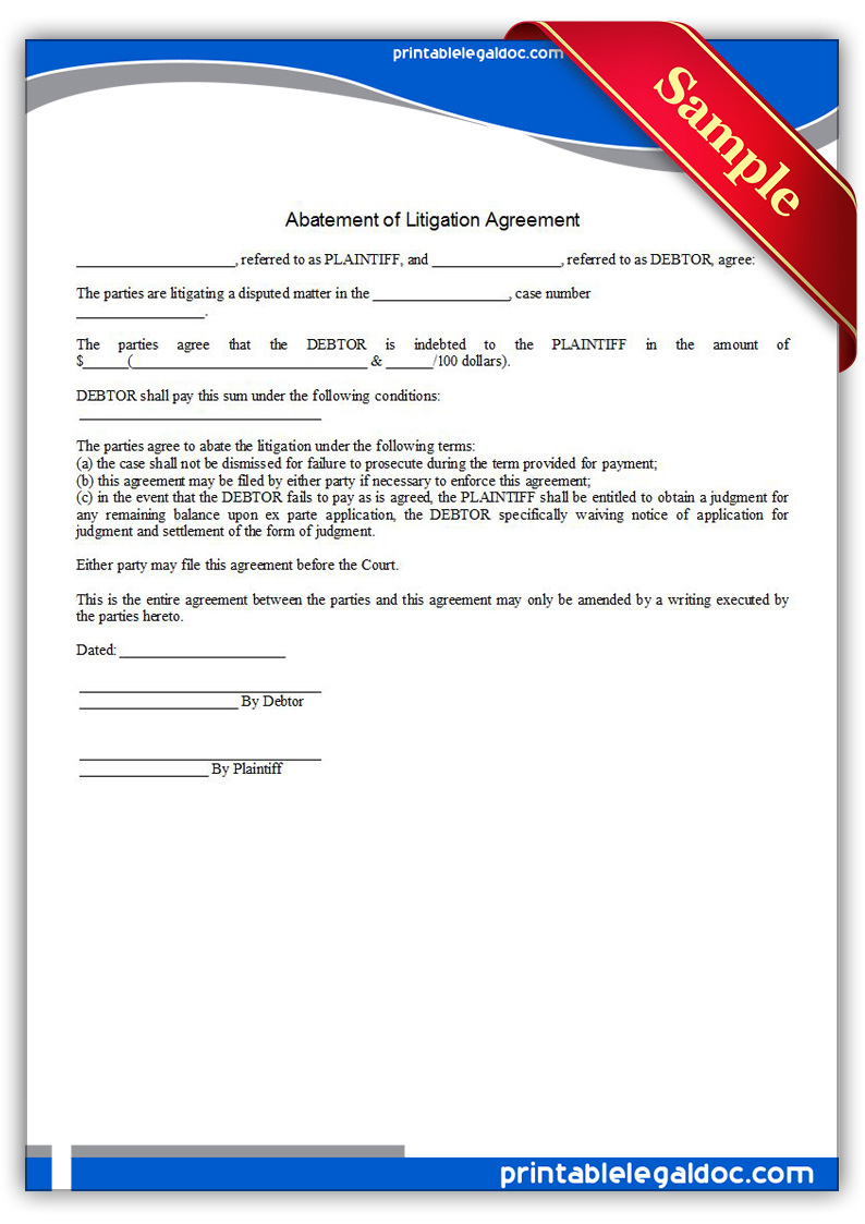 Abatement of Litigation Agreement