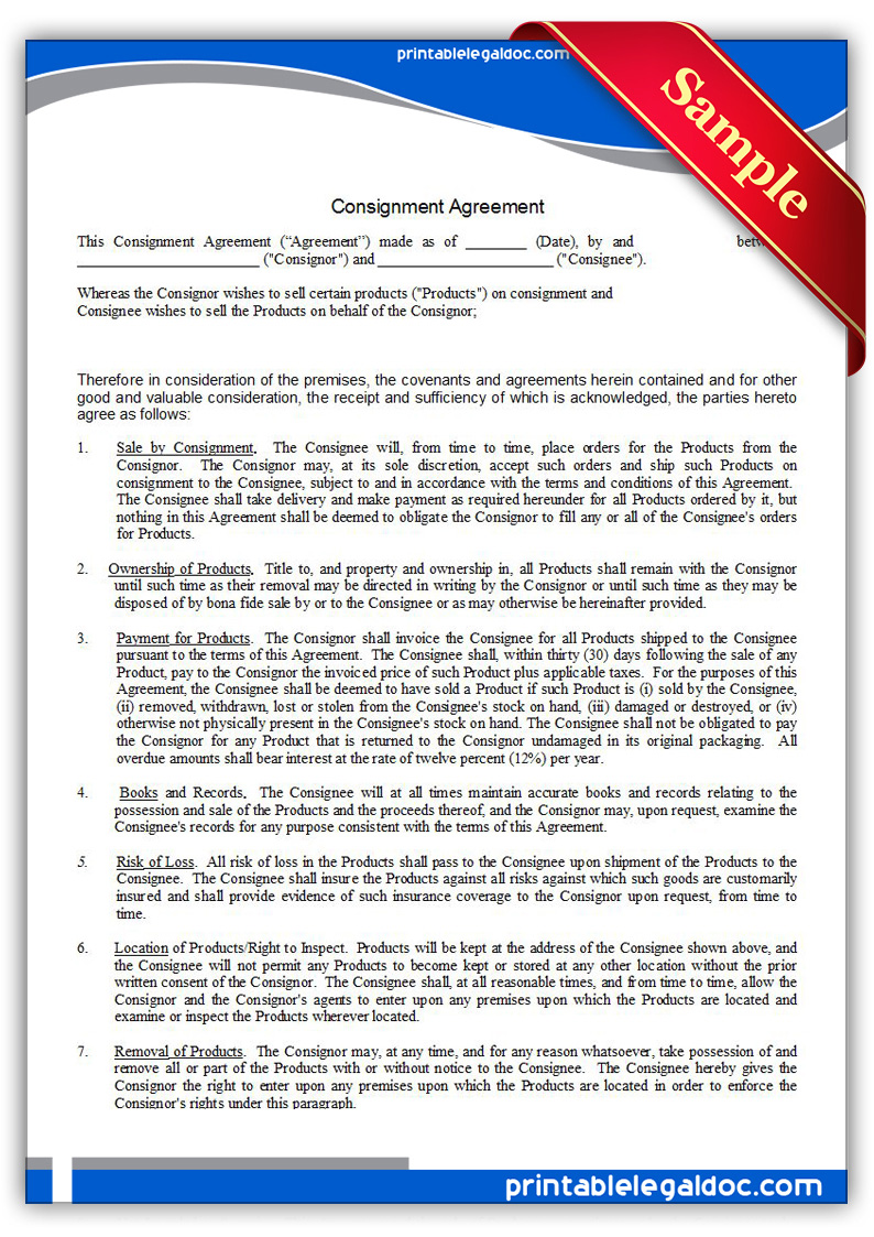 printable consignment agreement form generic printable consignment agreement form