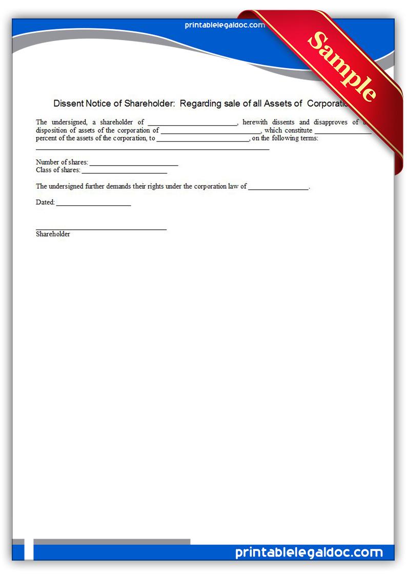 Printable-Dissent-Notice-of-Shareholder--Regarding-sale-of-all-Assets-o-Form