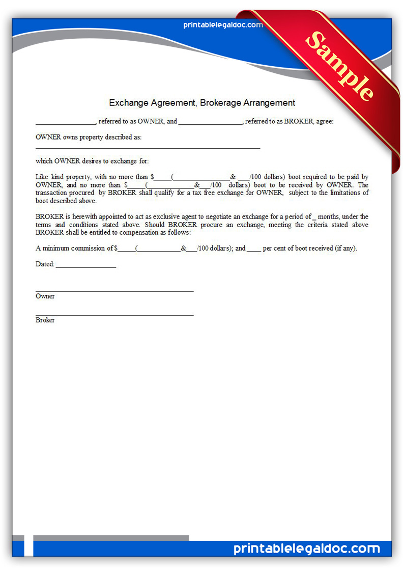 Printable-Exchange-Agreement,-Brokerage-Arrangement-Form