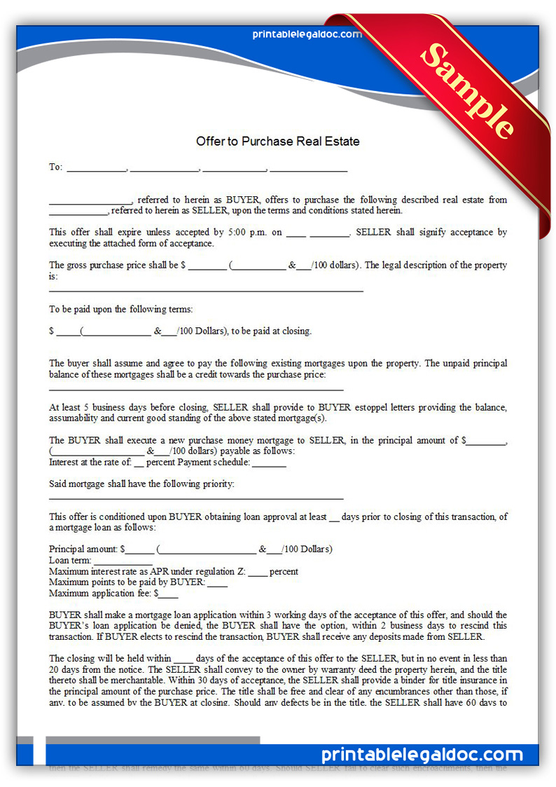 printable offer to purchase real estate form generic