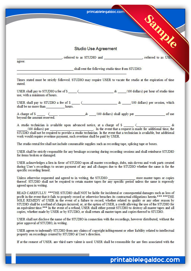Printable-Studio-Use-Agreement-Form