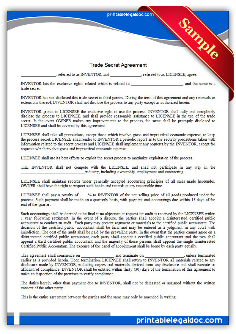 Printable-Trade-Secret-Agreement-Form