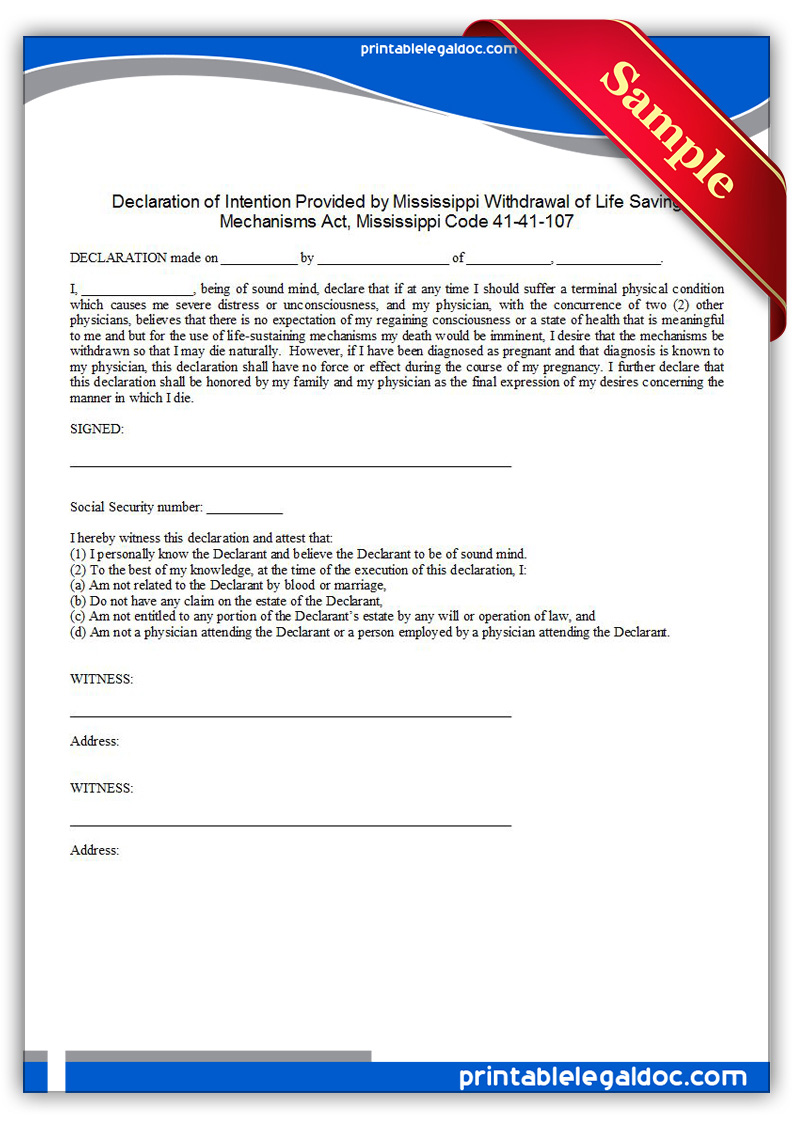 Printable-Life-Sustaining-Statute,-Mississippi-Form