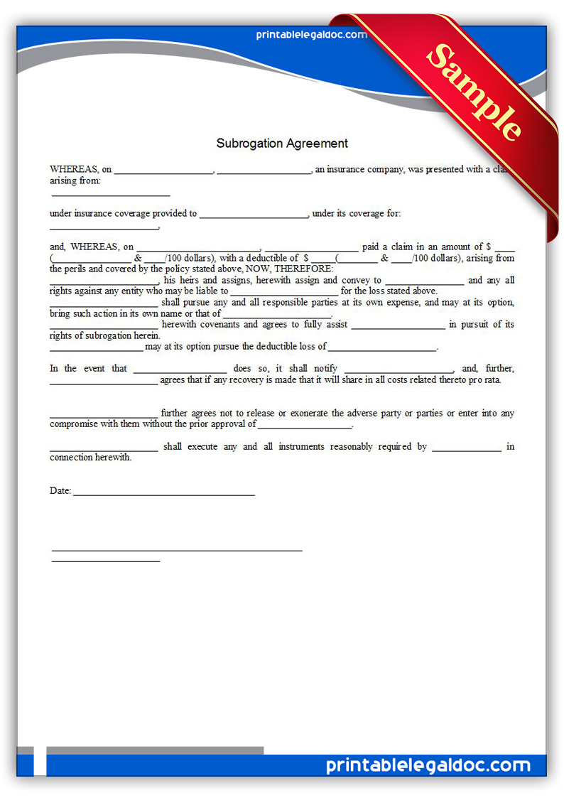 Printable-Subrogation-Agreement-Form