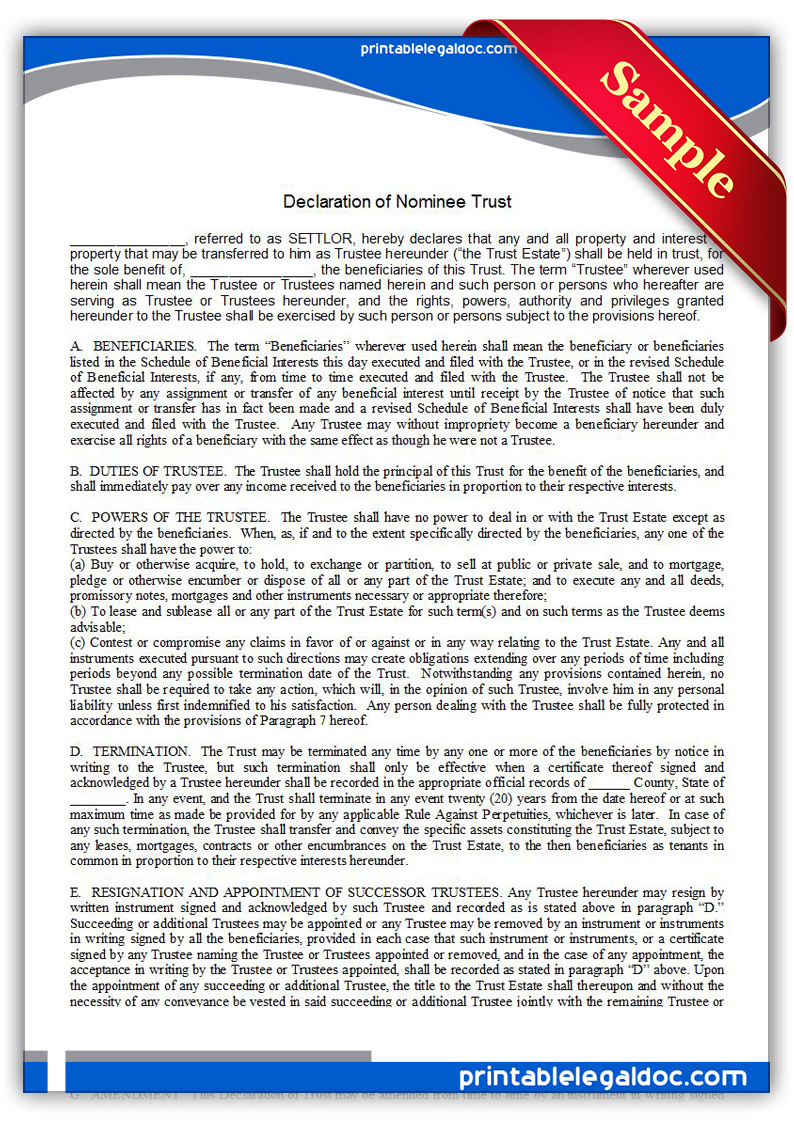 Printable-Declaration-of-Nominee-Trust-Form