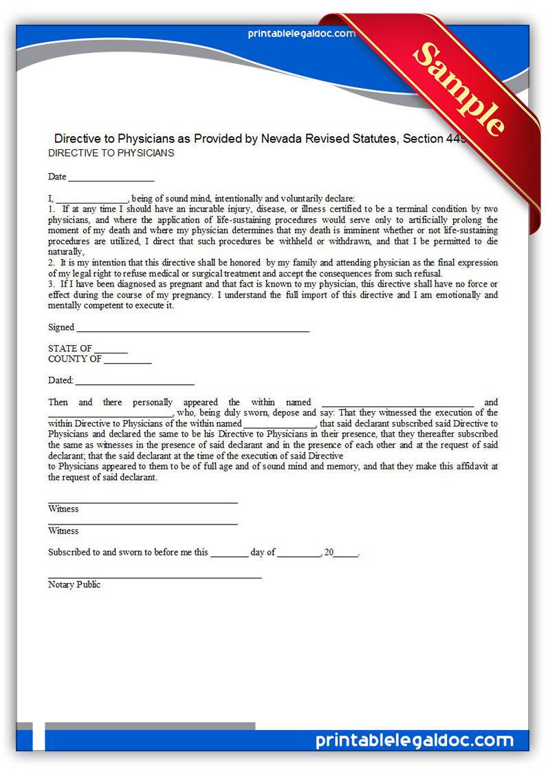 Printable-Life-Sustaining-Statute,-Nevada-Form