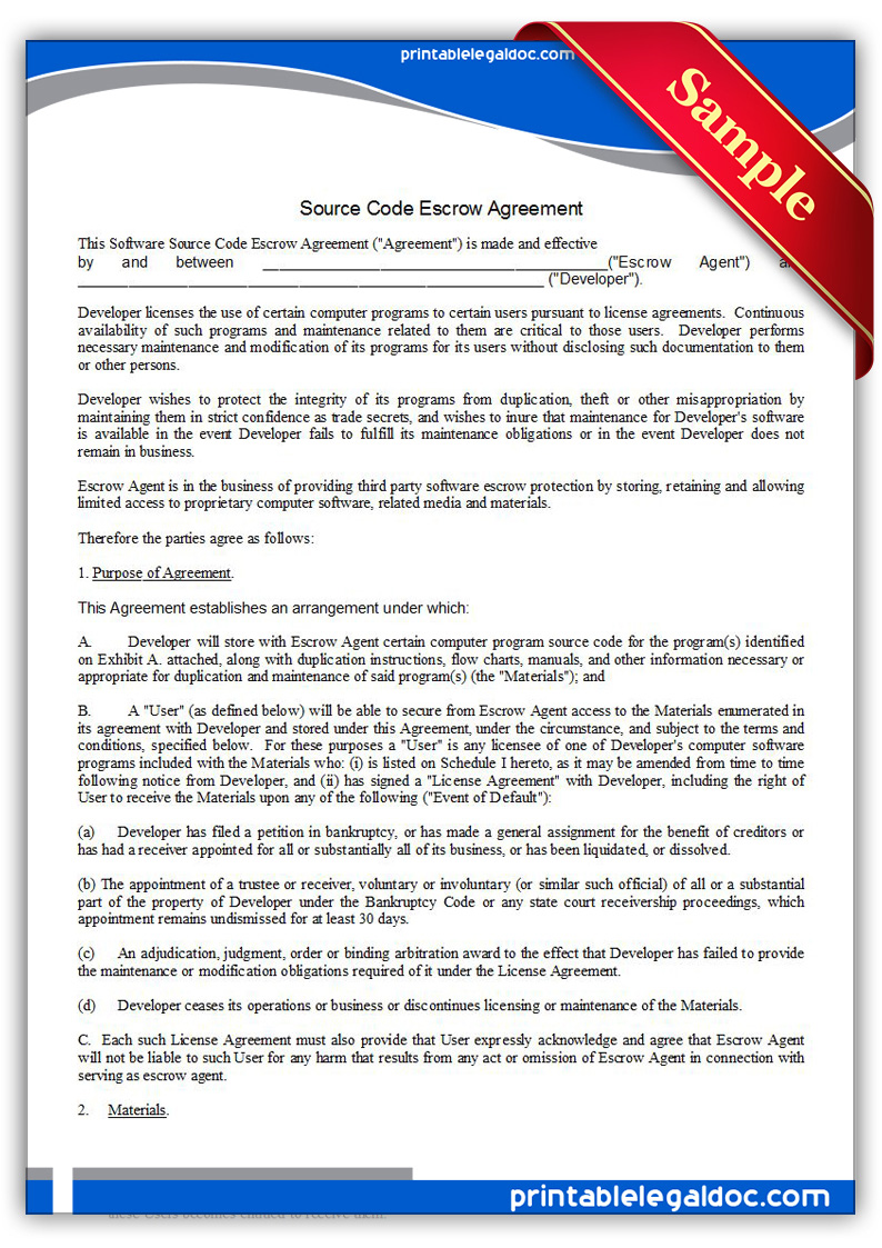 Printable-Source-Code-Escrow-Agreement-Form