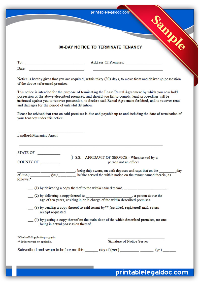 30-Day Notice Form Free
