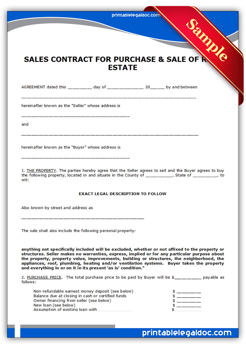 Free Printable Land Contract Forms Free Land Contract Forms  Free Printable Real Estate Sales Contract