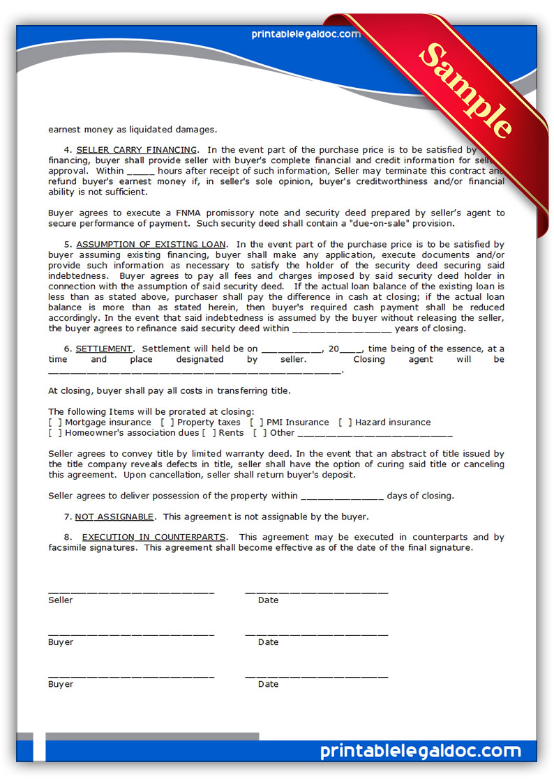 Free printable contract to sell on land contract form for Contract for sale of land template
