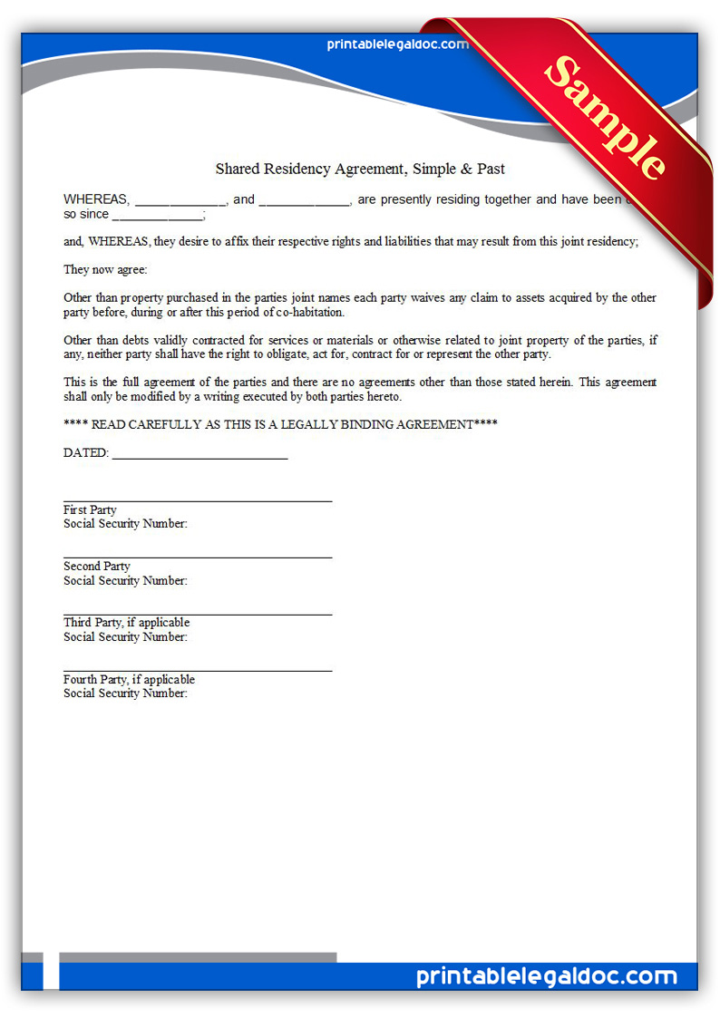 Printable-Residence-Sharing-Agreement,-Simple-&-Past-Form