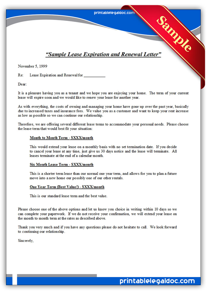 Sample Lease Expiration and Renewal Letter Standard