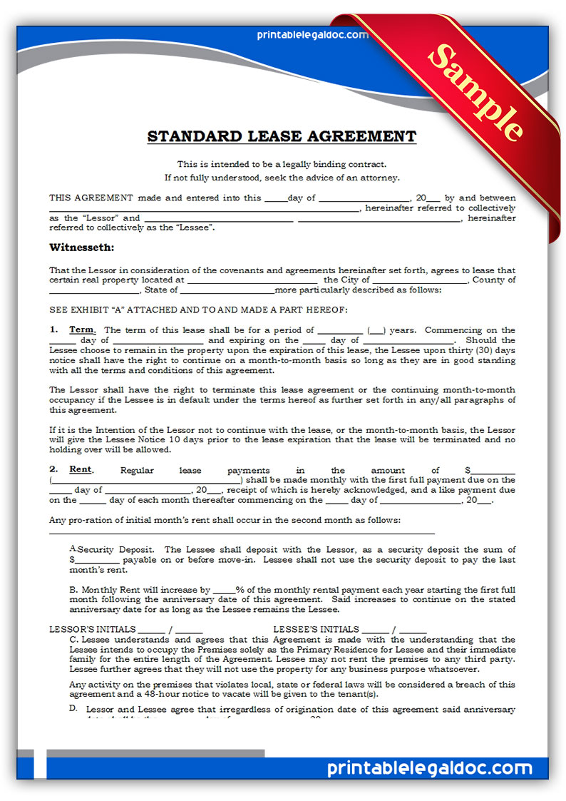 Free printable standard lease agreement form generic for Standard tenancy agreement template