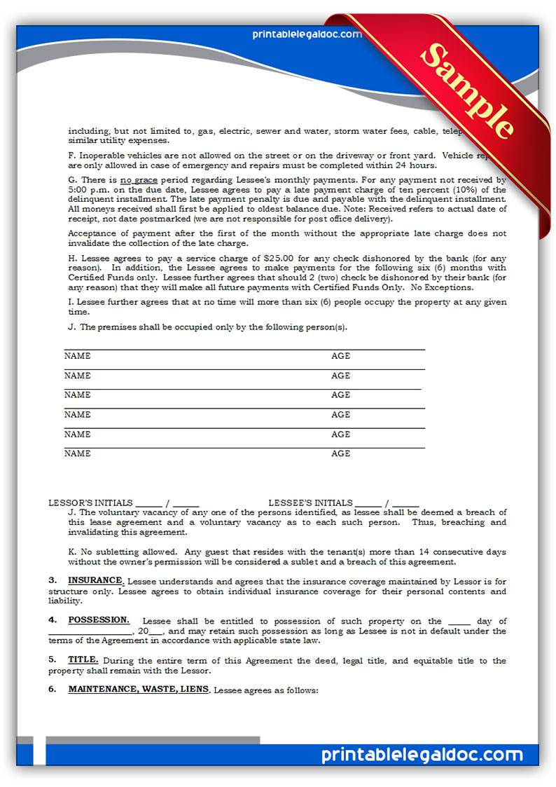 It is an image of Adaptable Printable Standard Lease Agreement
