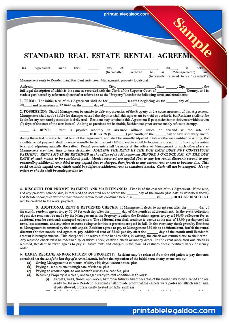 free standard rental agreement form