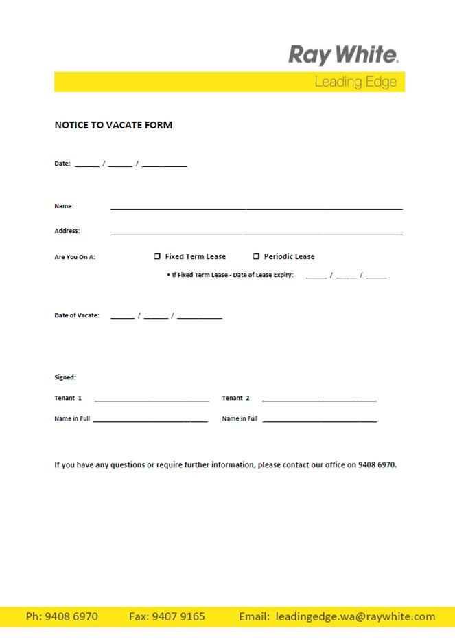 notice to vacate letter template