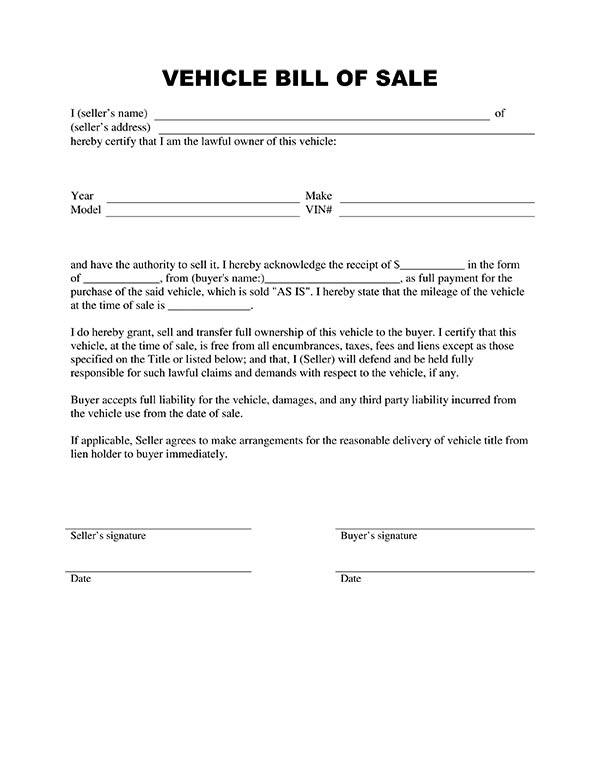 vehicle bill of sale as is template - free printable auto bill of sale form generic