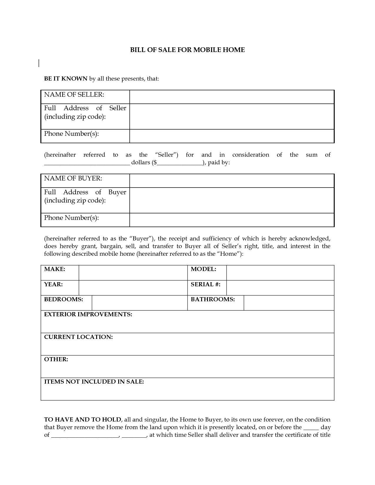 free printable bill of sale camper form  generic