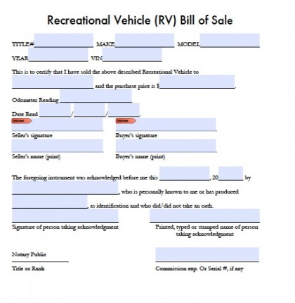 Free Printable Bill of Sale for RV Form (GENERIC)