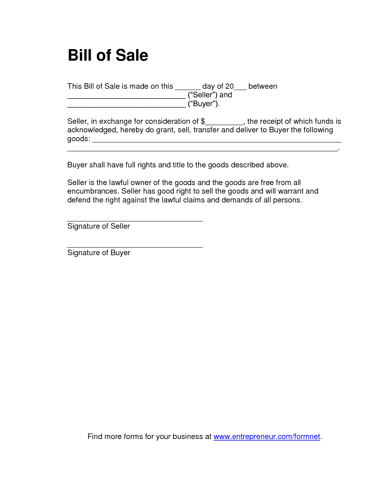 It is an image of Peaceful Printable Bill of Sale Form