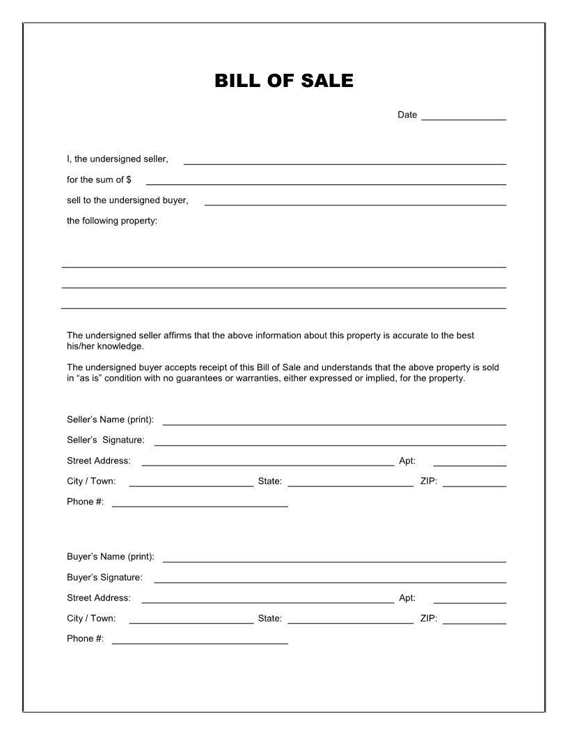Free Printable Bill of Sale Templates Form (GENERIC)