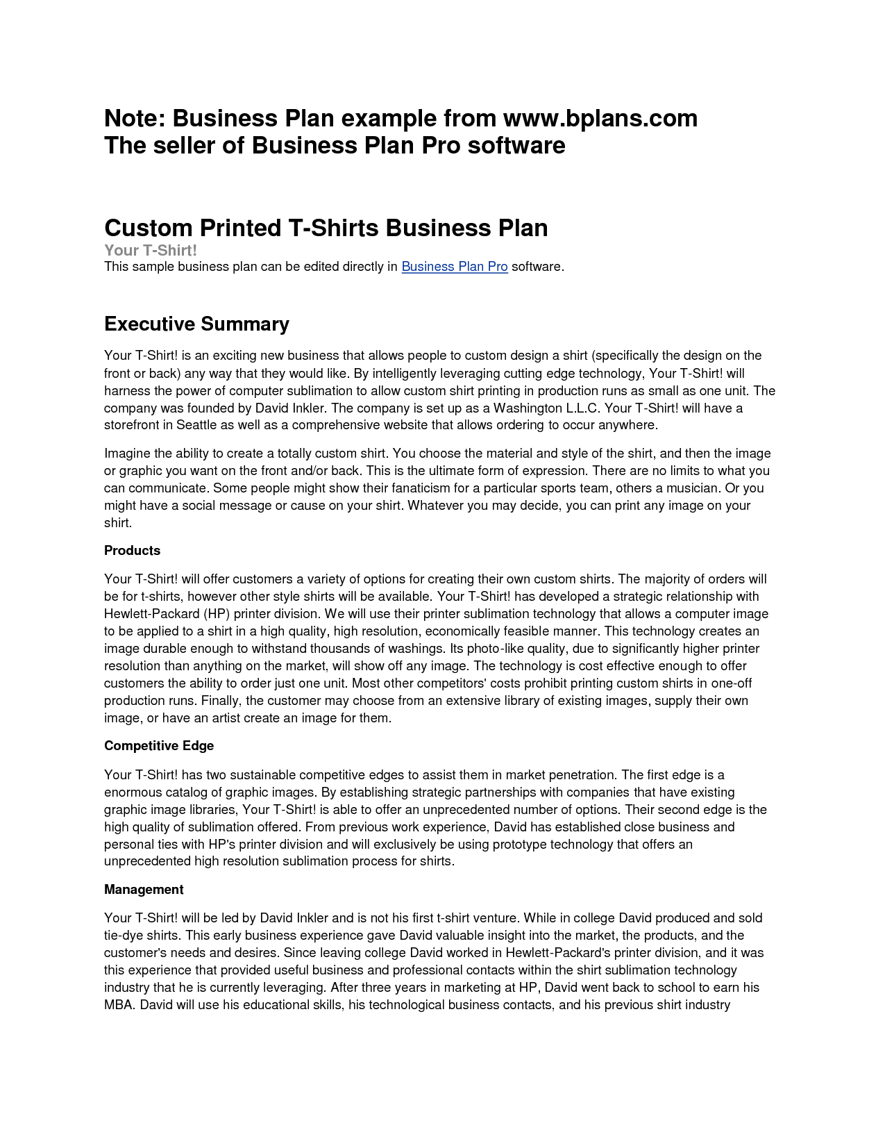 a written business plan pdf