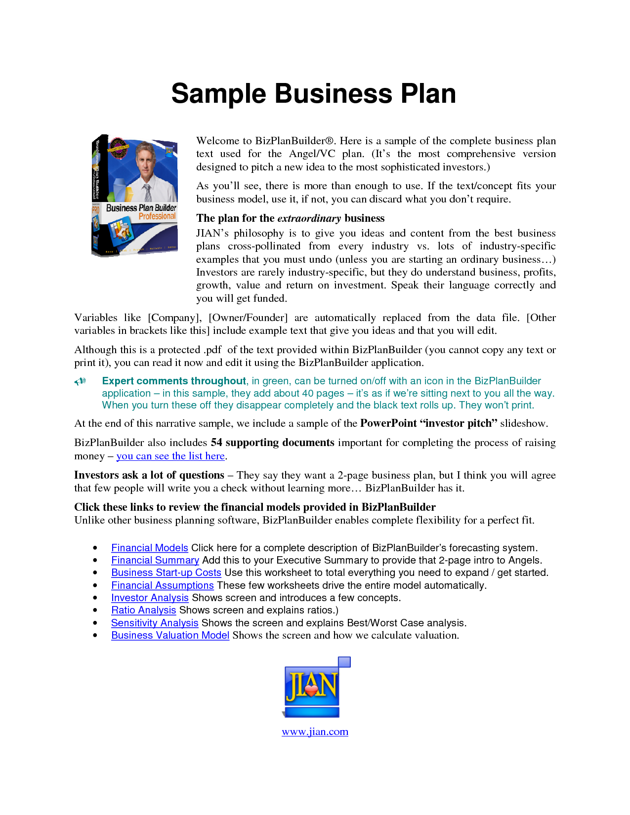 financial plan sample business plan