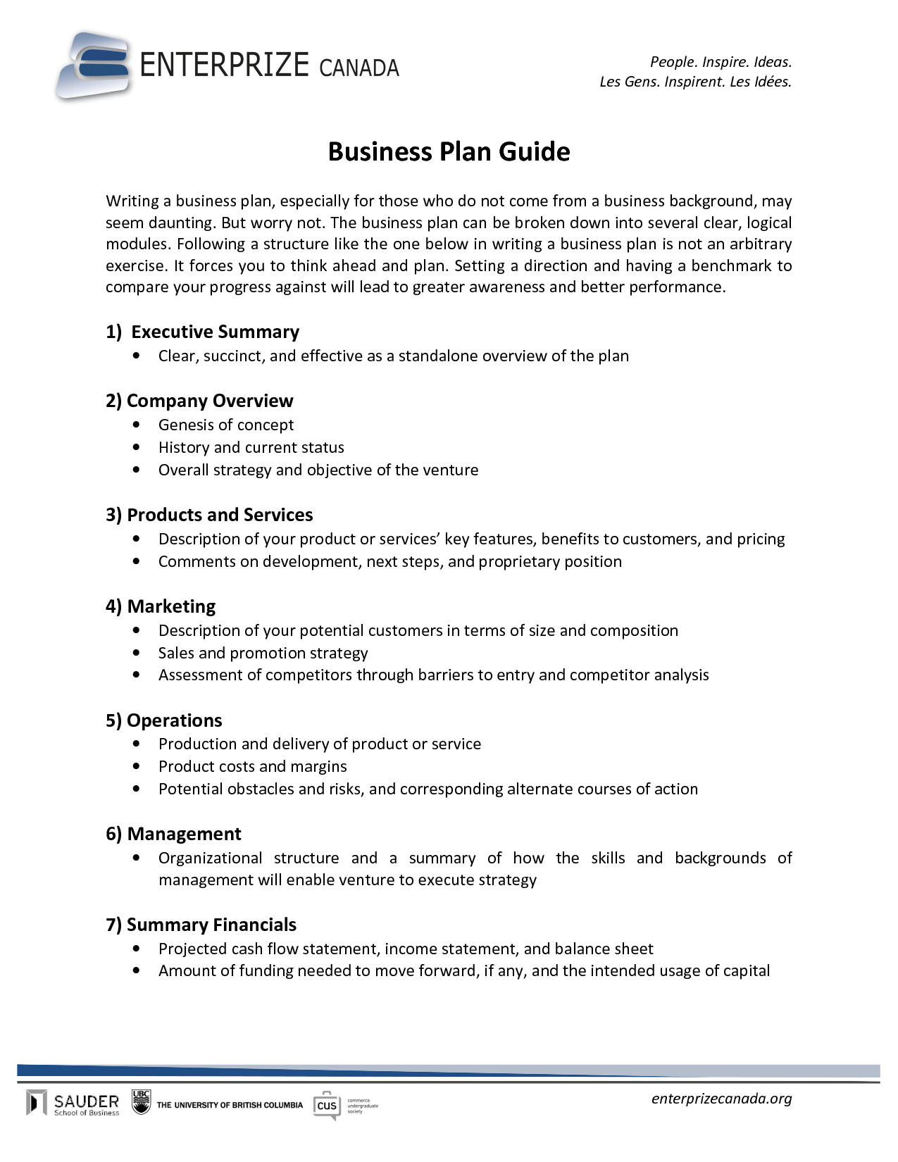 example of a business plan for investors