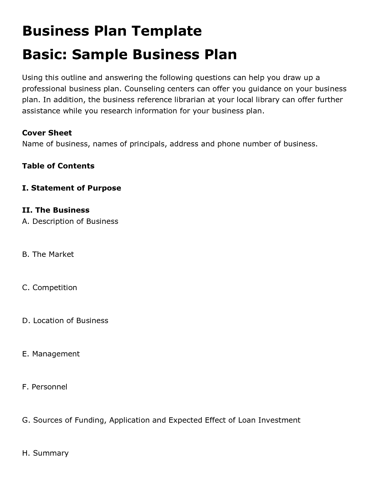 Free printable business plan template form generic fbccfo Choice Image