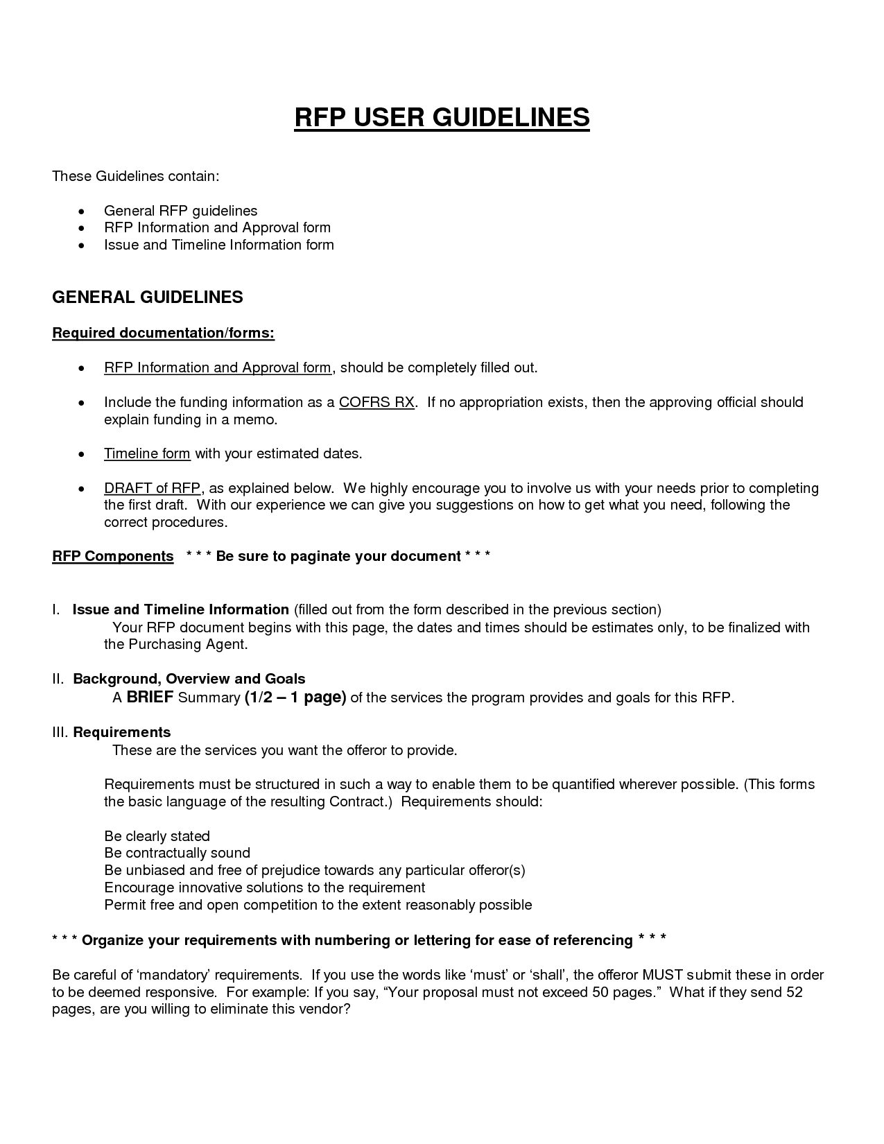 rfp requirements template - free printable business proposal form generic