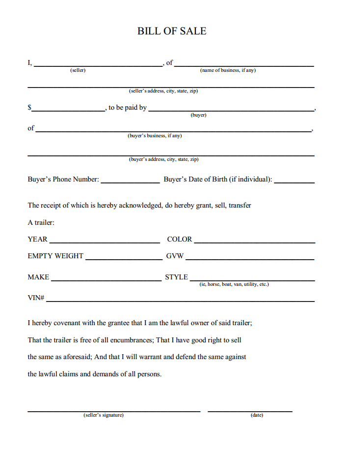 free printable camper bill of sale form free form generic