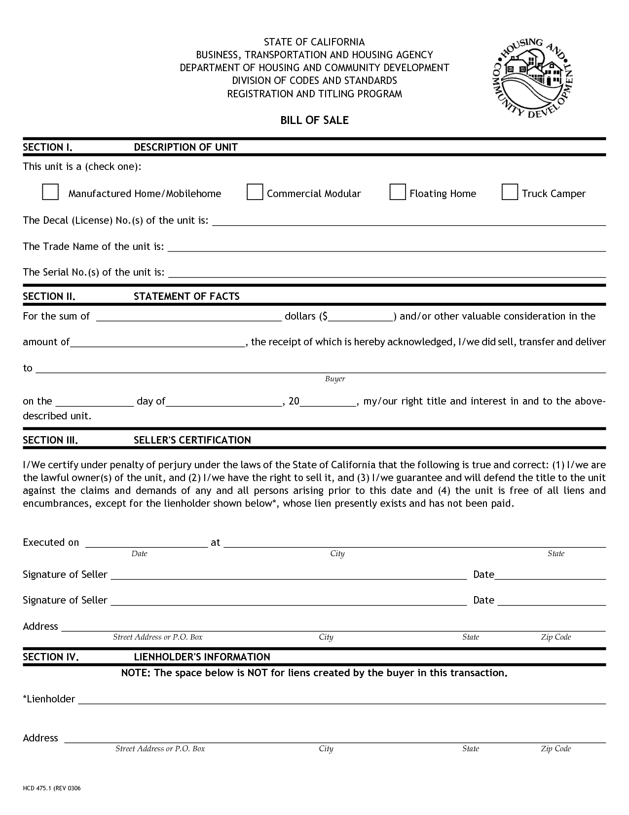 Free Printable Camper Bill of Sale Form Free Form GENERIC – Free Horse Bill of Sale
