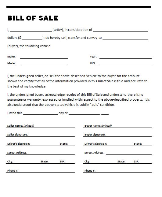 Free printable car bill of sale form generic for Bill of sale template wa