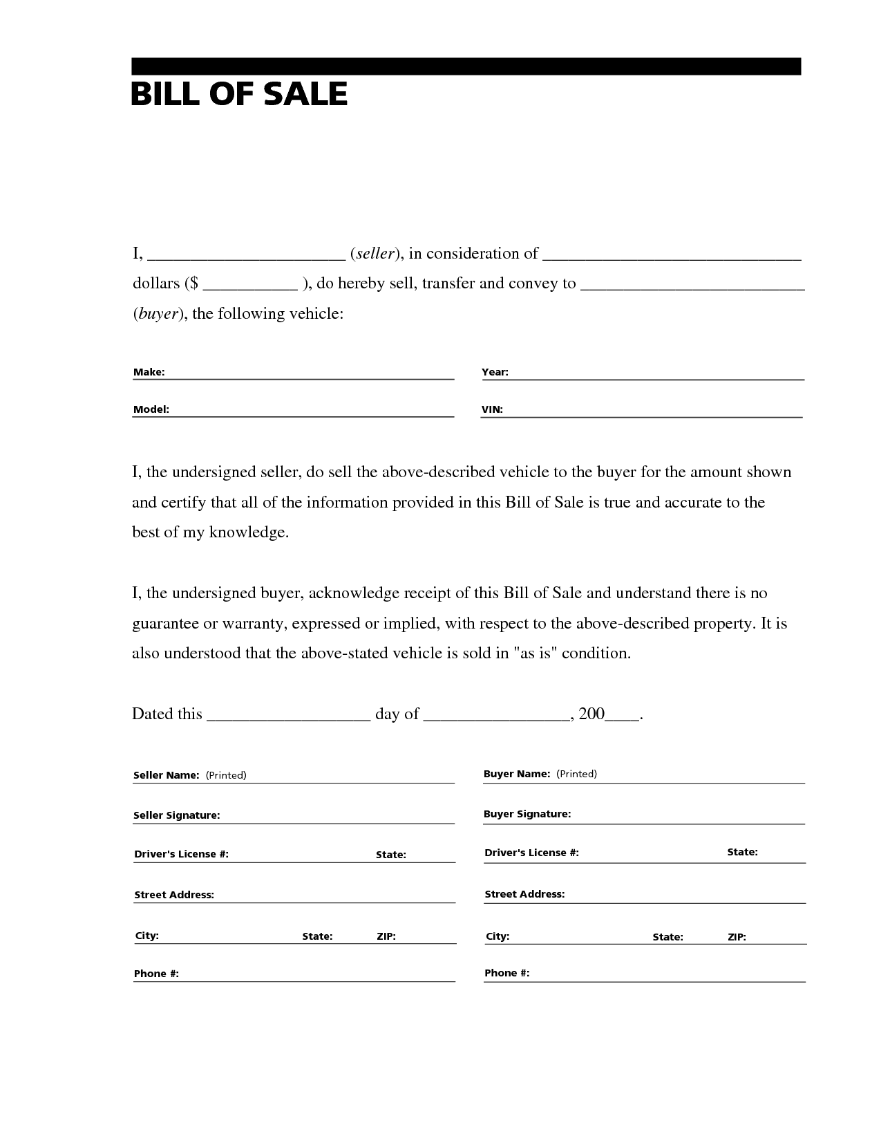 free printable car bill of sale form generic