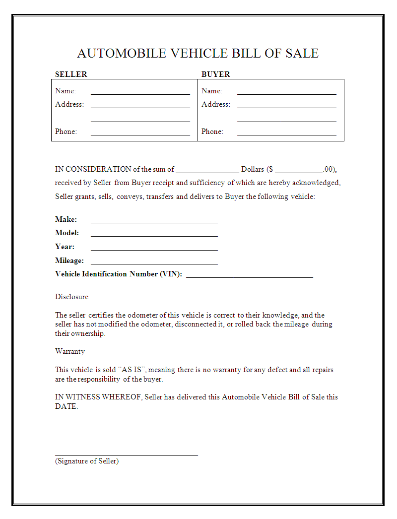 Free printable car bill of sale form generic for Free motor vehicle bill of sale