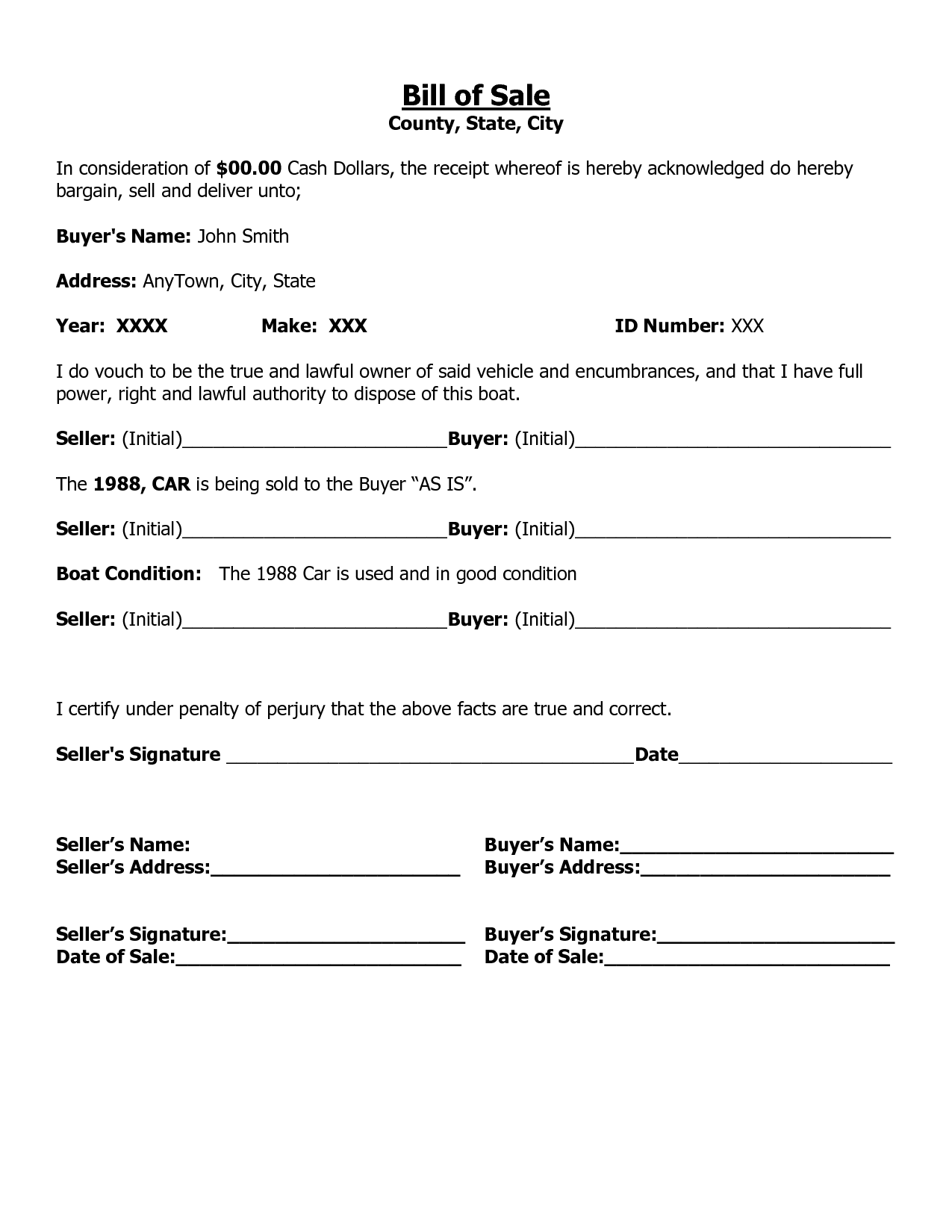 Free printable car bill of sale form generic for Tennessee motor vehicle bill of sale