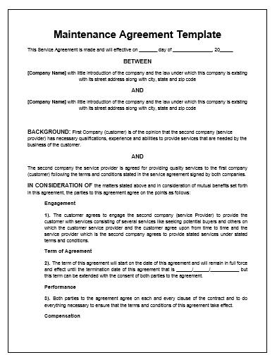 Free Printable It Service Agreement Template Form Generic