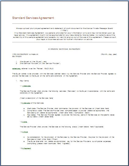 it service agreement Template – Home Maintenance Services Agreement