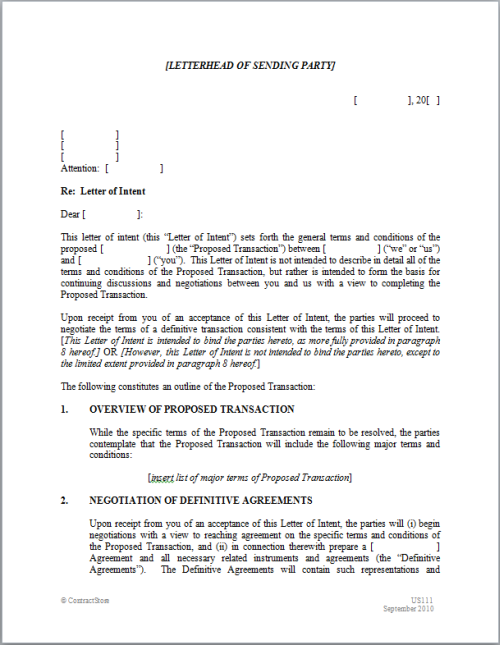 Good ... A Letter Of Intent ... In Letter Of Intent Template Uk