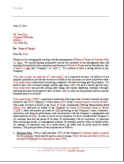 Doc707951 Letter of Intent Sample Template Letter of intent – Letter of Intent to Do Business Together