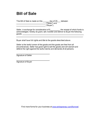 free printable bill of sale forms