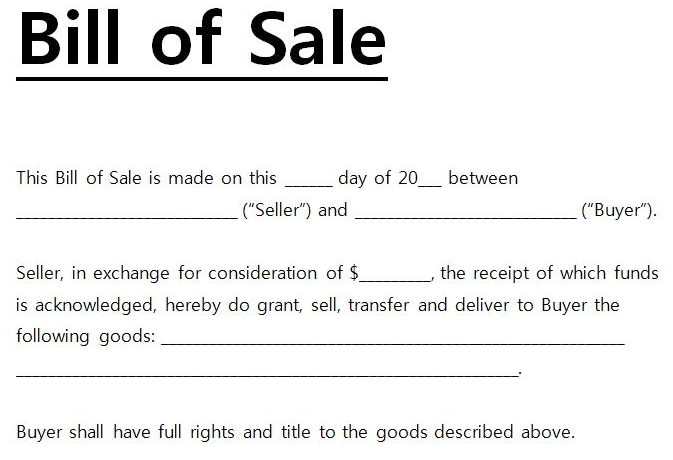 free printable bill of sale form form generic