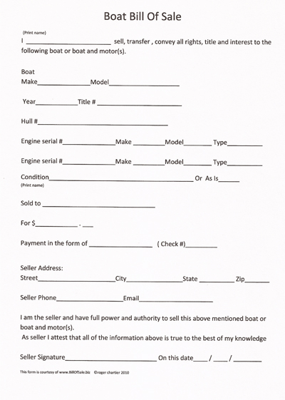 Free printable boat bill of sale form generic for Outboard motor bill of sale
