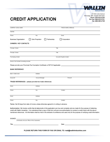 Free Printable Business Credit Application Form Form (Generic)