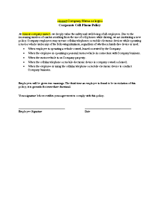 Free Printable Cell Phone Policy Form (GENERIC)