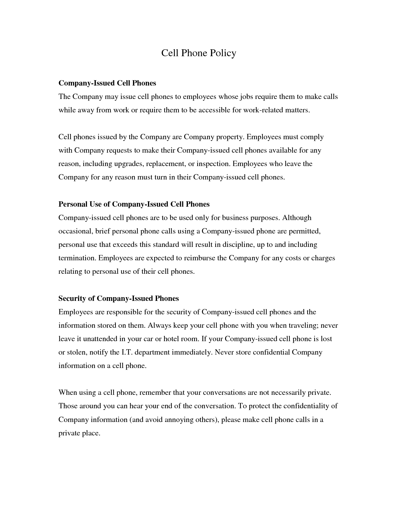 company issued cell phone policy template free printable cell phone policy form generic