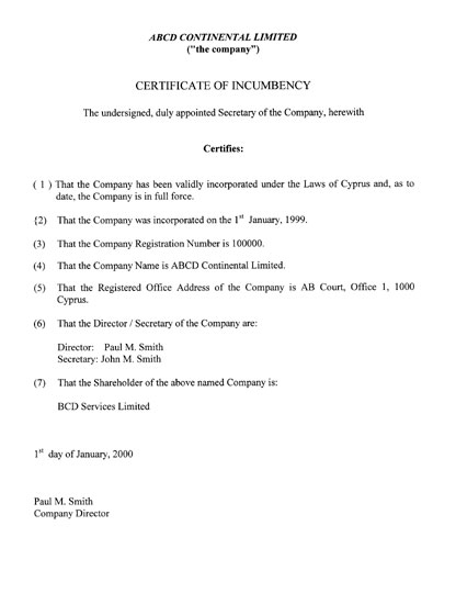 free printable certificate of incumbency form  generic